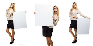 Woman holding a empty paper blank Royalty Free Stock Image