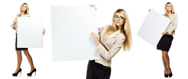 Woman holding a empty paper blank Royalty Free Stock Photography