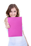 Woman holding empty pink board Royalty Free Stock Photo