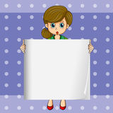 A woman holding an empty template Stock Images