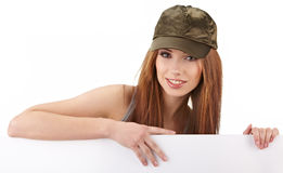 Woman holding empty white board Stock Photos