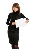 Woman holding empty white board Royalty Free Stock Image