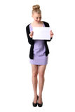 Woman holding empty white board. Stock Images