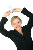 Woman Holding Energy Save Light Bulb Royalty Free Stock Image