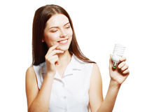 Woman Holding Energy Saving Lamp Stock Images