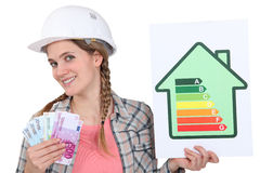 Woman holding energy score card. And cash royalty free stock images