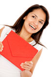 Woman holding an envelope Royalty Free Stock Photography