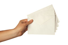 Woman holding envelope Stock Images