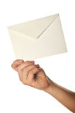 Woman holding envelope Stock Photos