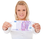 Woman holding 500 euro Royalty Free Stock Photos