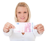 Woman holding 10 euro Royalty Free Stock Photo