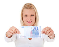 Woman holding 20 euro Royalty Free Stock Photos