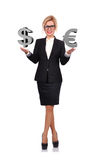Woman holding euro and dollar. Businesswoman holding euro and dollar  symbol on a white background Stock Image