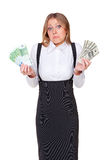 Woman holding euro and dollars Stock Photo
