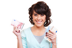 Woman holding euro in her hands Royalty Free Stock Photography