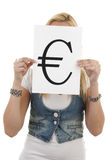 Woman is holding euro mark Stock Images