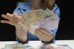 Woman Holding European Currency Notes Stock Photo
