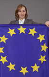 Woman holding european flag Stock Photography