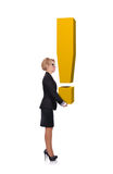 Woman holding exclamation mark Royalty Free Stock Photos