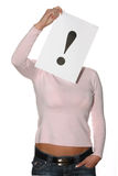 Woman holding the exclamation mark Royalty Free Stock Photos