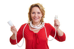Woman holding extension cord Stock Photos