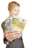 Woman holding fan of euro money bills Royalty Free Stock Photography