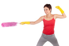 Woman holding feather cleaner Royalty Free Stock Photography