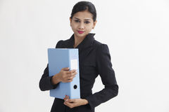 Woman holding file Stock Photos