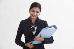 Woman holding file Stock Photography