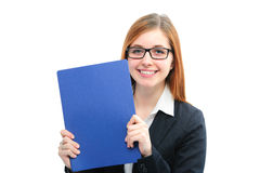 Woman holding files for a job interview. Happy young woman holding files for a job interview Royalty Free Stock Photo
