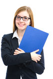 Woman holding files for a job interview. Happy young woman holding files for a job interview Stock Images