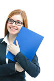 Woman holding files for a job interview. Happy young woman holding files for a job interview Royalty Free Stock Photos