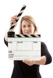 Woman Holding Film Clapperboard Royalty Free Stock Photos