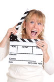 Woman holding a film slate Stock Photo