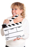 Woman holding a film slate Stock Image