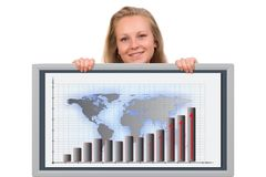 Woman holding a financial graph board Stock Photography