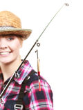 Woman holding fishing rod looking at float Stock Photography
