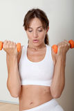 Woman holding fitenss weights Stock Photography