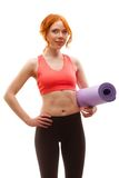 Woman holding fitness mat Stock Photos