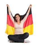 Woman holding flag of germany Stock Photos