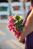 Woman Holding a Floral Bouquet Stock Photo