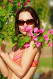 Woman holding a flower Royalty Free Stock Photo