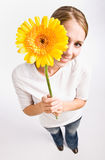 Woman holding flower Royalty Free Stock Photos