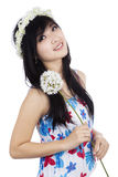 Woman holding a flower Stock Image