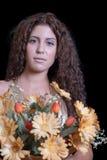 Woman holding flower bouquet Stock Photo
