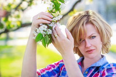 Woman holding flower Stock Photo