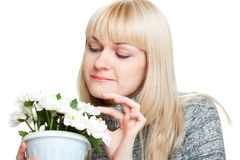 Woman holding flowers Stock Photo