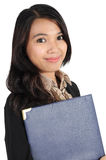 Woman holding a folder. Businesswoman holding a folder isolated on white background Stock Photos