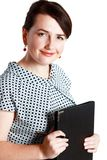Woman holding folder Royalty Free Stock Photos
