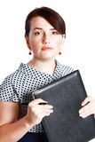 Woman holding folder Stock Photos